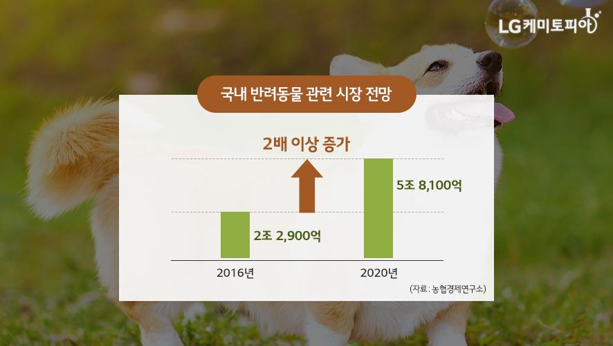 국내 반려동물 관련 시장 전망 관련 그래프: 2016년 2조 2,900억, 2020년 5조 8,100억, 2016년 대비 2020년 2배 이상 증가예상 자료: 농협경제연구소