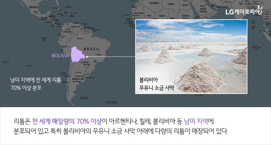리튬은 전 세계 매장량의 70% 이상이 아르헨티나, 칠레, 볼리비아 등 남미 지역에 분포되어 있고 특히 볼리비아의 우유니 소금 사막 아래에 다량의 리튬이 매장되어 있다.