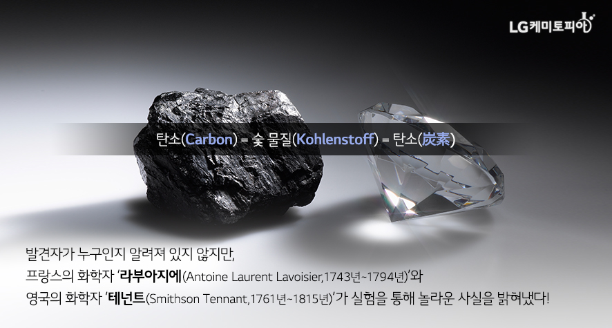 탄소(Carbon) = 숯 물질(Kohlenstoff) = 탄소(炭素) : 특정 발견자가 누구인지 알려져 있지 않지만, 프랑스의 화학자 '라부아지에(Antoine Laurent Lavoisier, 1743년~1794년)'와 영국의 화학자 '테넌트(Smithson Tennant, 1761년~1815년)'의 실험을 통해 놀라운 사실을 밝혀냈다!
