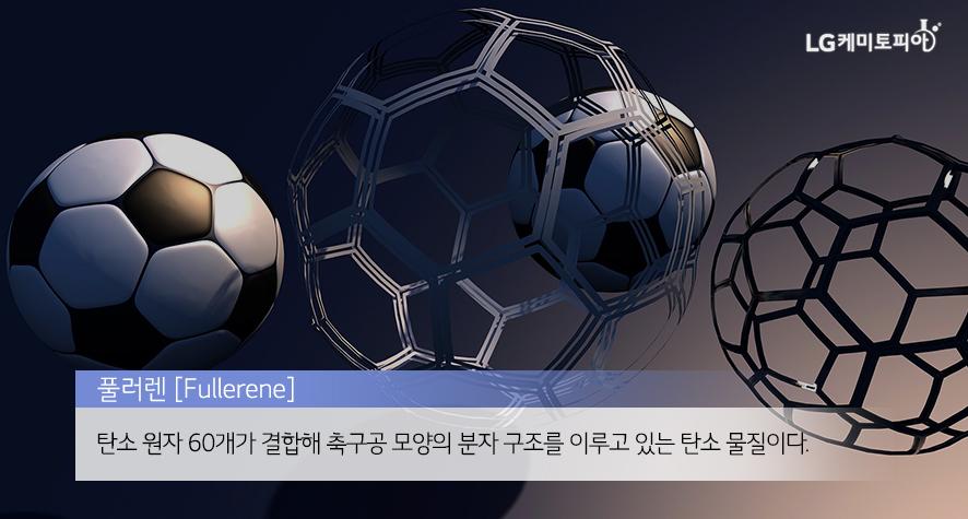 풀러렌 [Fullerene]: 탄소 원자 60개가 결합해 축구공 모양의 분자 구조를 이루고 있는 탄소 물질이다.