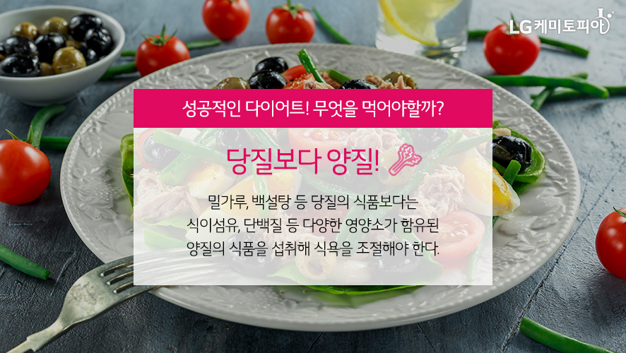 성공적인 다이어트! 무엇을 먹어야할까? 당질보다 양질! 밀가루, 백설탕 등 당질의 식품보다는 식이섬유, 단백질 등 다양한 영양소가 함유된 양질의 식품을 섭취해 식욕을 조절해야 한다.