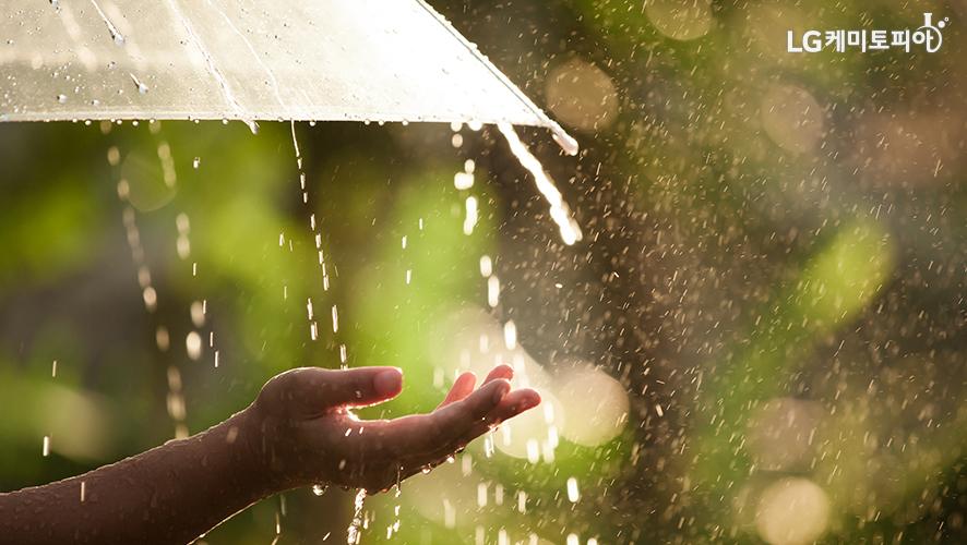 우산 밖으로 손을 뻗어서 비를 만지고 있다.