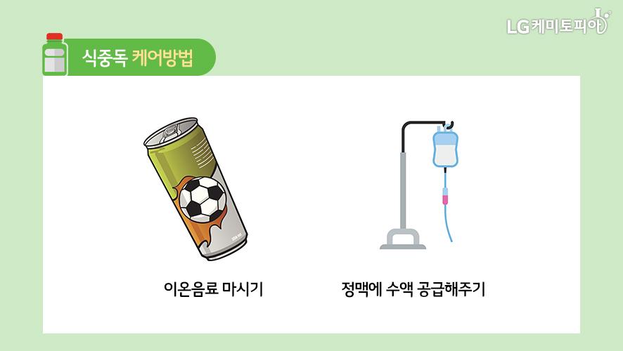 식중독 케어방법: 이온음료 마시기, 정맥에 수액 공급해주기