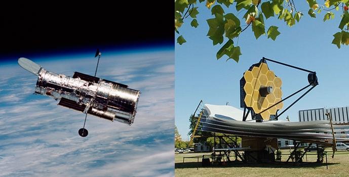왼쪽 사진은 푸른 지구 위로 궤도와 가까운 곳에 위치한 허블 망원경이 있으며, 오른쪽 사진은 들판에 세워져 있는 Webb 망원경이 있다.