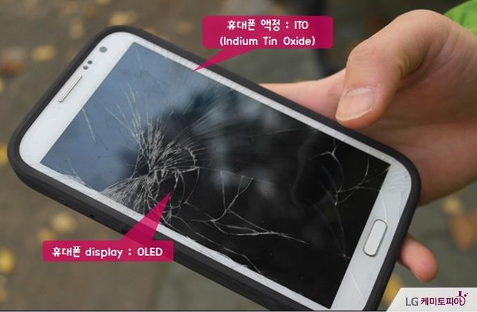ITO와 OLED를 사용한 스마트폰 액정이 깨져 있다.