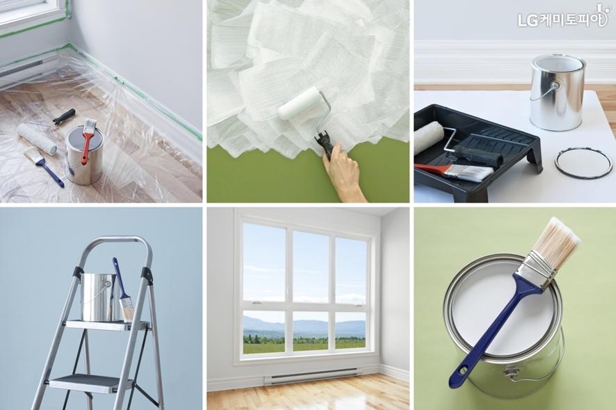 실내 인테리어 과정 사진. 페인트, 브러시 등 도구