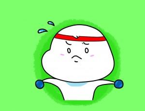 귀여운 캐릭터가 어깨를 늘리는 운동을 하고 있는 그림.