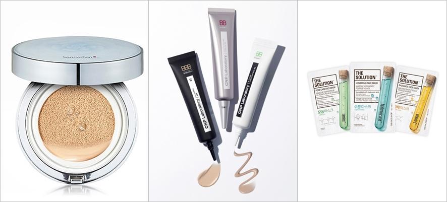 왼쪽부터 LG생활건강의 효비담 선쿠션, CNP차앤박 비비크림, 더페이스샵의 바이오셀 마스크팩