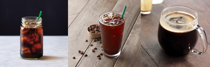 왼쪽부터 콜드 브루 vs. 아이스 커피 vs. 핫커피(드립커피) 모습