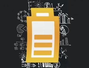 검정색 배경에 노란색 충전 배터리가 그려져 있고, 그 주변으로 다양한 공식들이 나열되어 있는 그림이다.