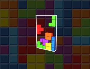 다양한 색깔과 다양한 모양의 테트리스 블럭들이 쌓이고 있는 그림