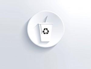 테이크아웃 컵에 재활용 마크가 있는 아이콘