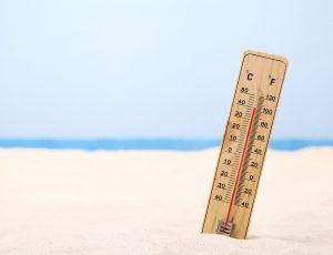 무더운 모래사장 40도 가까운 온도계