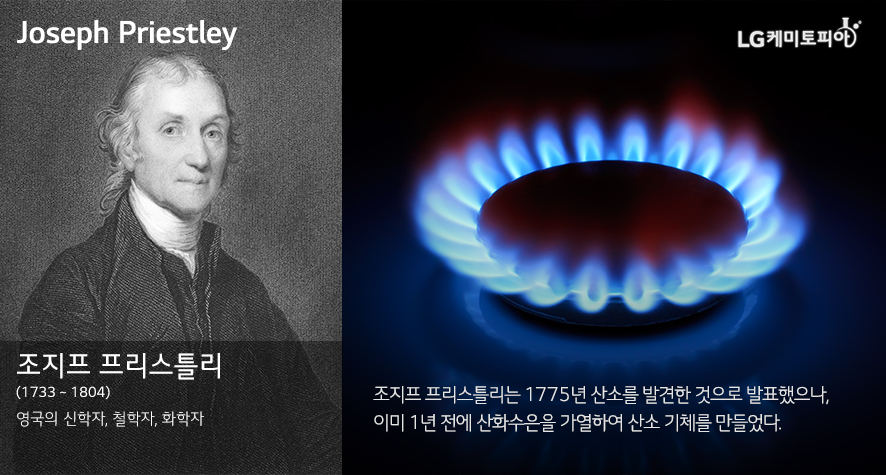 Joseph Priestley 조지프 프리스틀리 (1733 ~ 1804) 영국의 신학자, 철학자, 화학자 조지프 프리스틀리는 1775년 산소를 발견한 것으로 발표했으나, 이미 1년 전에 산화수은을 가열하여 산소 기체를 만들었다.