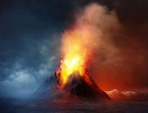 화산이 폭발하고 있다.