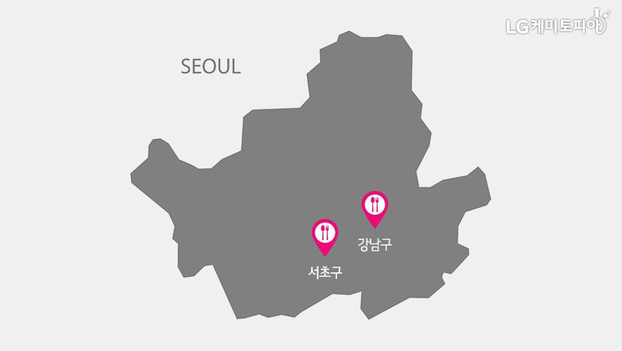 SEOUL 서초구, 강남구 지도 표시