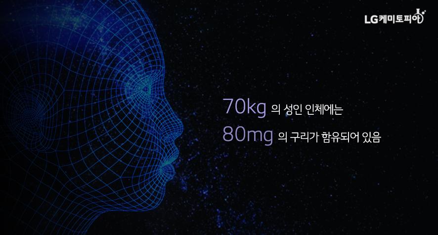 70kg 의 성인 인체에는 80mg 의 구리가 함유되어 있음