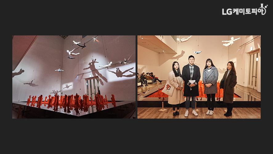 (좌) 가장 큰 규모의 사와야의 작품, (우)작품 앞에 서 있는 대학생 에디터들