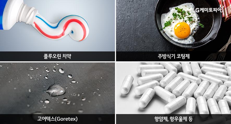 플루오린 치약, 주방식기 코팅제, 고어텍스(Goretex), 항암제/항우울제 등