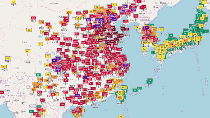 2018년 2월8일의 아시아 지역 대기 상태 지수(AQI)