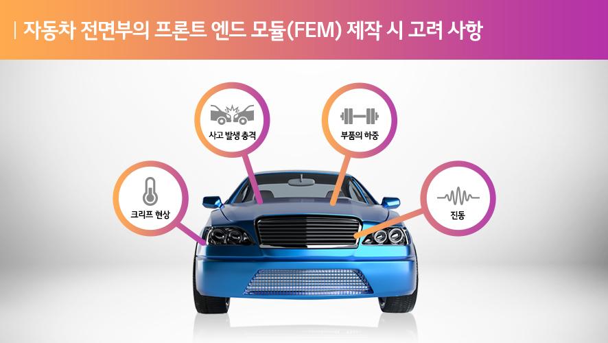 자동차 전면부의 프론트 엔드 모듈(FEM)제작 시 고려 사항