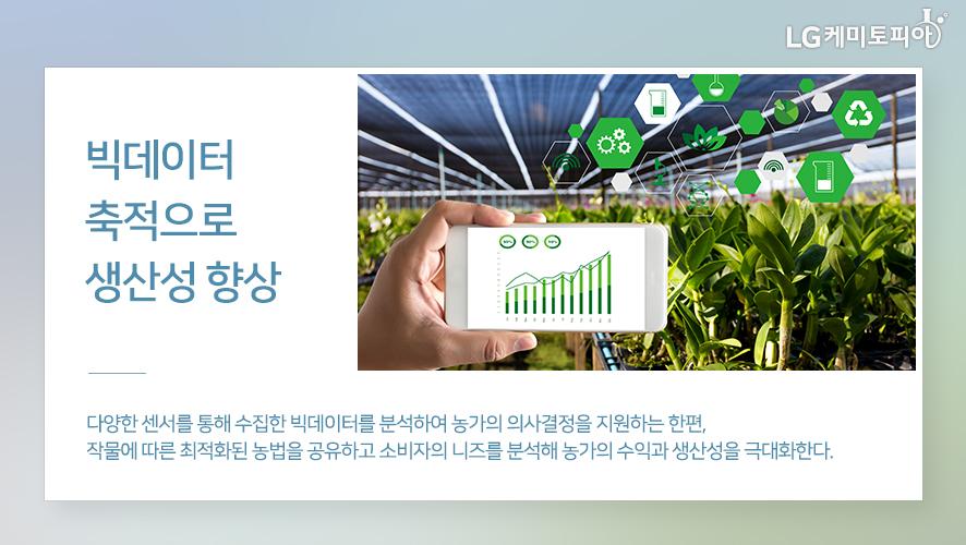 빅데이터 축적으로 생산성 향상: 다양한 센서를 통해 수집한 빅데이터를 분석하여 농가의 의사결정을 지원하는 한편, 작물에 따른 최적화된 농법을 공유하고 소비자의 니즈를 분석해 농가의 수익과 생산성을 극대화한다.