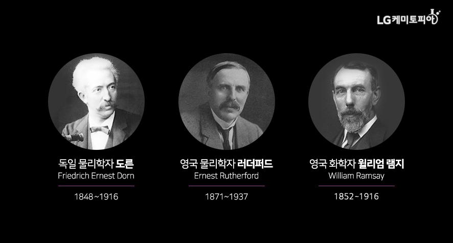 독일 물리학자 도른 Friedrich Ernest Dorn 1848~1916 / 영국 화학자 러더퍼드 Rutherford, Daniel 1749~1819 /영국 화학자 윌리엄 램지 William Ramsay 1852~1916