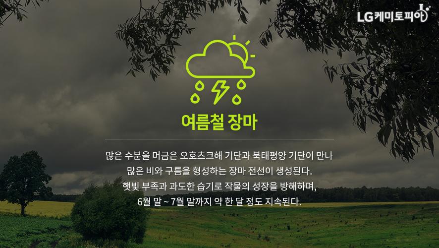 여름철 장마: 많은 수분을 머금은 오호츠크해 기단과 북태평양 기단이 만나 많은 비와 구름을 형성하는 장마 전선이 생성된다. 햇빛 부족과 과도한 습기로 작물의 성장을 방해하며, 6월 말 ~ 7월 말까지 약 한 달 정도 지속된다.