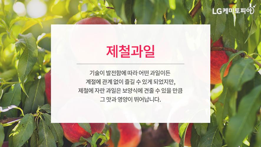 제철과일: 기술이 발전함에 따라 어떤 과일이든 계절에 관계 없이 즐길 수 있게 되었지만, 제철에 자란 과일은 보양식에 견줄 수 있을 만큼 그 맛과 영양이 뛰어납니다.