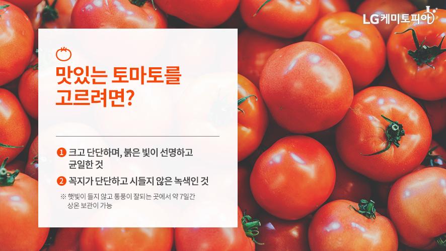 맛있는 토마토를 고르려면? ① 크고 단단하며, 붉은 빛이 선명하고 균일한 것 ② 꼭지가 단단하고 시들지 않은 녹색인 것 ※ 햇빛이 들지 않고 통풍이 잘되는 곳에서 약 7일간 상온 보관이 가능