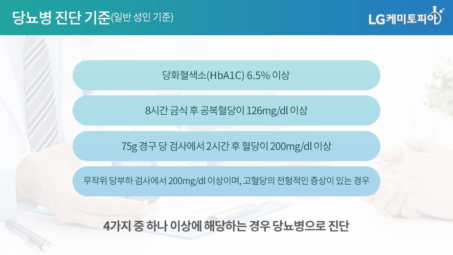 당뇨병 진단 기준(일반 성인 기준)