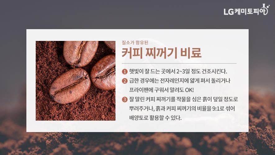 질소가 함유된 커피 찌꺼기 비료 - ① 햇빛이 잘 드는 곳에서 2~3일정도 건조시킨다. ② 급한 경우에는 전자레인지에 얇게 펴서 돌리거나 프라이팬에 구워서 말려도 OK! ③ 잘 말린 커피 찌꺼기를 작물을 심은 흙이 덮일 정도로 뿌려주거나, 흙과 커피 찌꺼기의 비율을 9:1로 섞어 배양토로 활용할 수 있다.