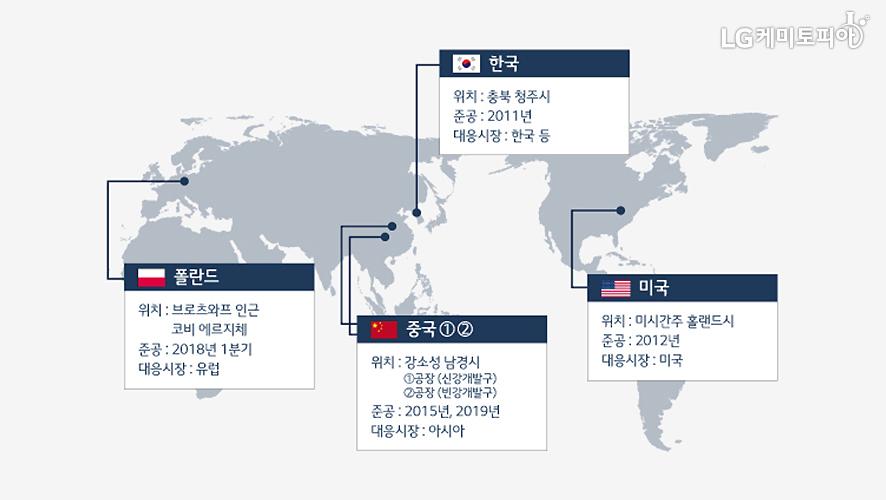 LG화학 배터리 관련 사업장 분포 세계지도