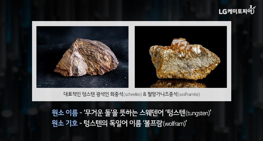 원소 이름 - '무거운 돌'을 뜻하는 스웨덴어 '텅스텐(tungsten)' 원소 기호 - 텅스텐의 독일어 이름 '볼프람(wolfram)'
