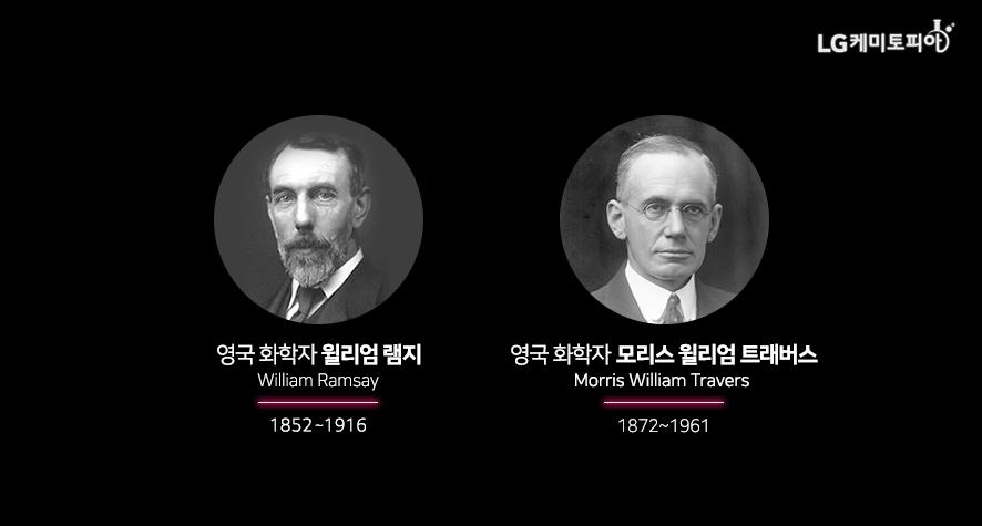영국 화학자 윌리엄 램지(William Ramsay, 1852-1976), 영국 화학자 모리스 윌리엄 트래버스(Morris William Travers, 1872~1961)