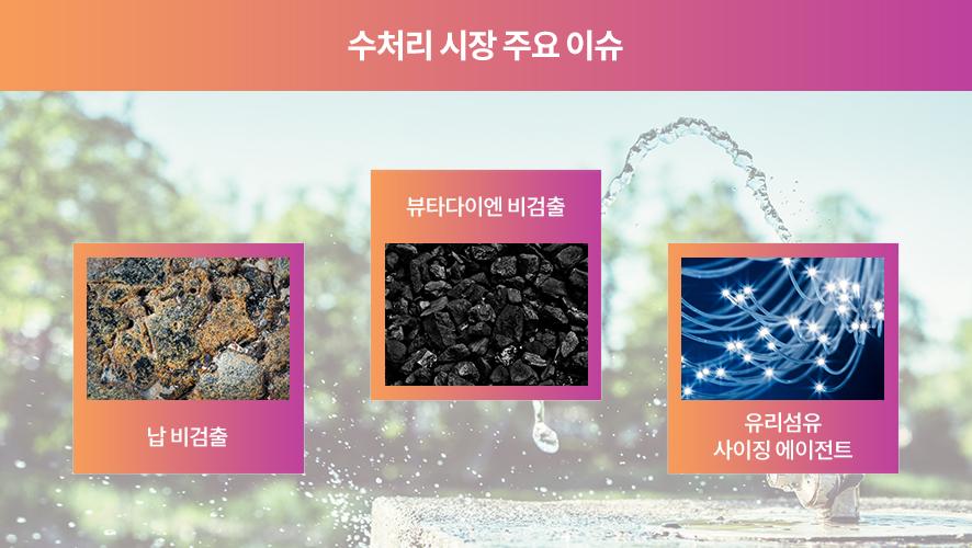 수처리 시장 주요 이슈-납미검출, 부타다이엔 미검출, 유리섬유에이전트