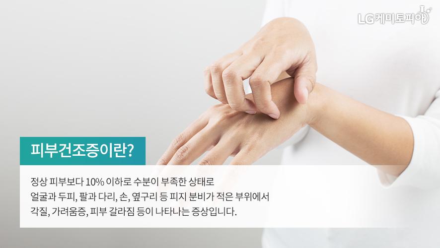 피부건조증이란? 정상 피부보다 10% 이하로 수분이 부족한 상태로 얼굴과 두피, 팔과 다리, 손, 옆구리 등 피지 분비가 적은 부위에서 각질, 가려움증, 피부 갈라짐 등이 나타나는 증상입니다.