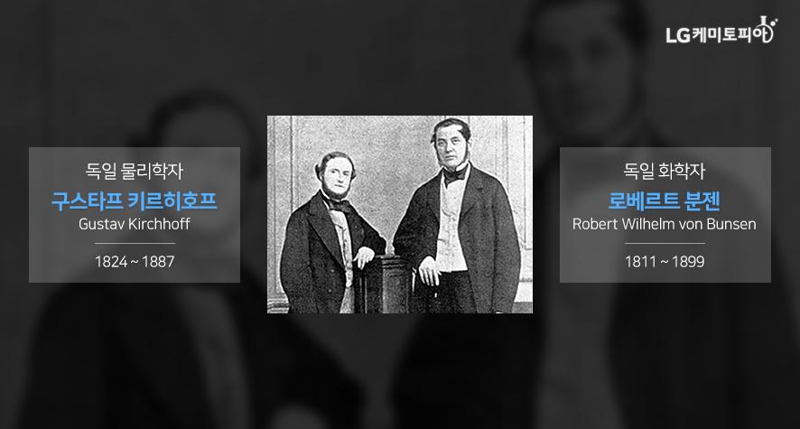 독일 물리학자 구스타프 키르히호프 Gustav Kirchhoff 1824 ~ 1887, 독일 화학자 로베르트 분젠 Robert Wilhelm von Bunsen 1811 ~ 1899